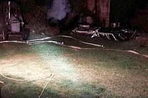 Požár karavanu odhalil i lidské tělo