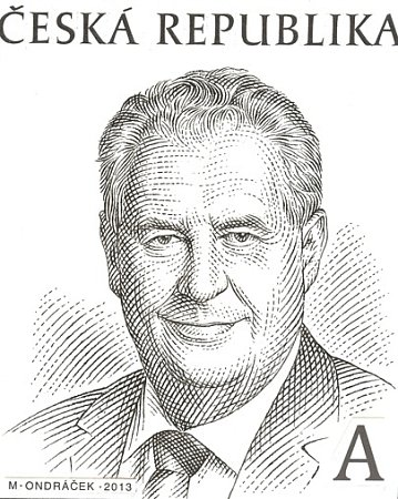 Návrh známky schválený prezidentem Milošem Zemanem.