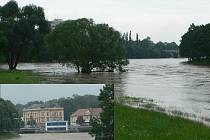 Tak vypadala řeka Otava ve Strakonicích v neděli 28. června.