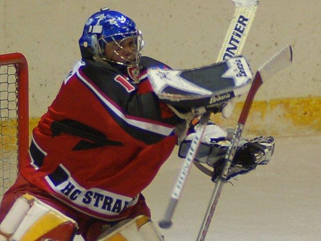 Gólman Strakonic Roman Špiler udržel poprvé v kvalifikaci o II. ligu čisté konto, když pochytal všech 31 střel příbramských hráčů.