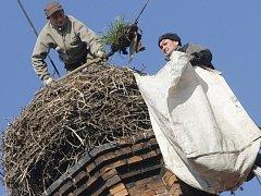 Marek Stejskal a Pavel Vondrášek při úpravách čapího hnízda na komíně bývalého pivovaru, v současnosti budovy Městského úřadu ve Vodňanech.