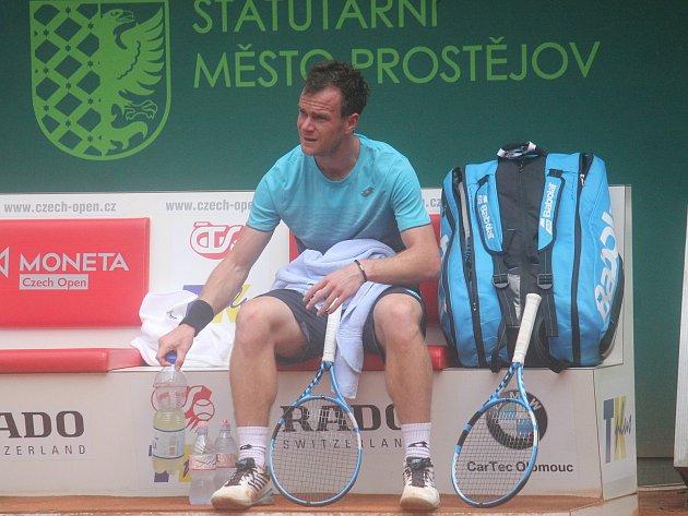 Jan Šátral během 25.ročník tenisového challengeru Czech open vProstějově (2018).