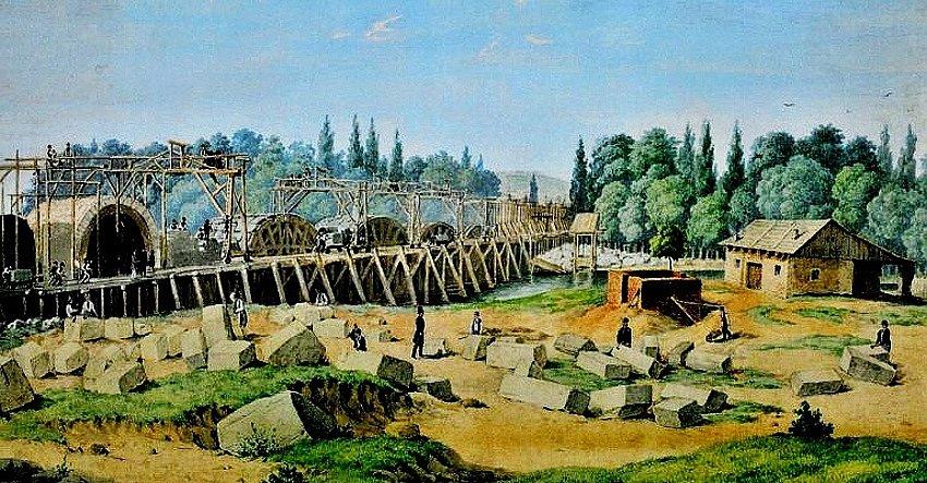 Negrelliho viadukt spojující Karlín a Bubny je druhým nejstarším stojícím mostem v Praze. Výstavba v roce 1948.