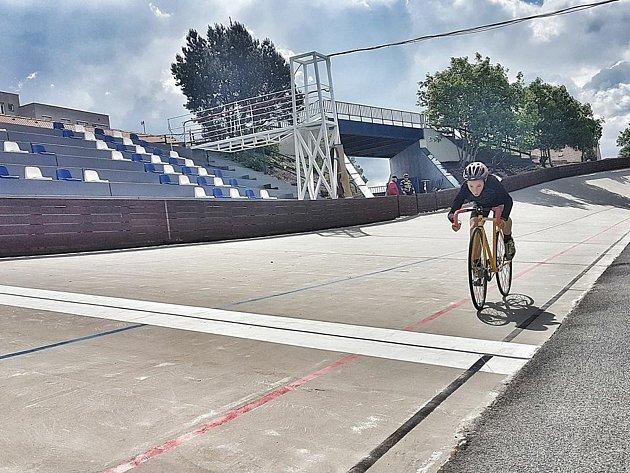 Valter Vlk během tréninku dráhové cyklistiky. Foto: archiv sportovce