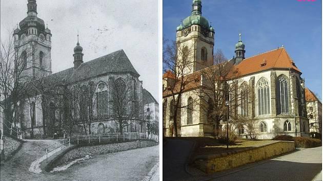 Chrám svatého Petra a Pavla. Pod presbytářem je proslulá kostnice, na volném prostranství byl do roku 1775 hřbitov. Úplně vlevo je výklenková kaplička, která zmizela záhy po vítězství pracujícího lidu v roce 1948