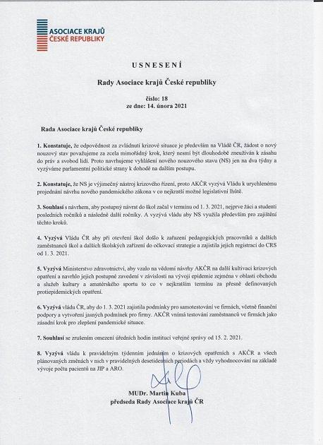 Usnesení Asociace krajů ČR.