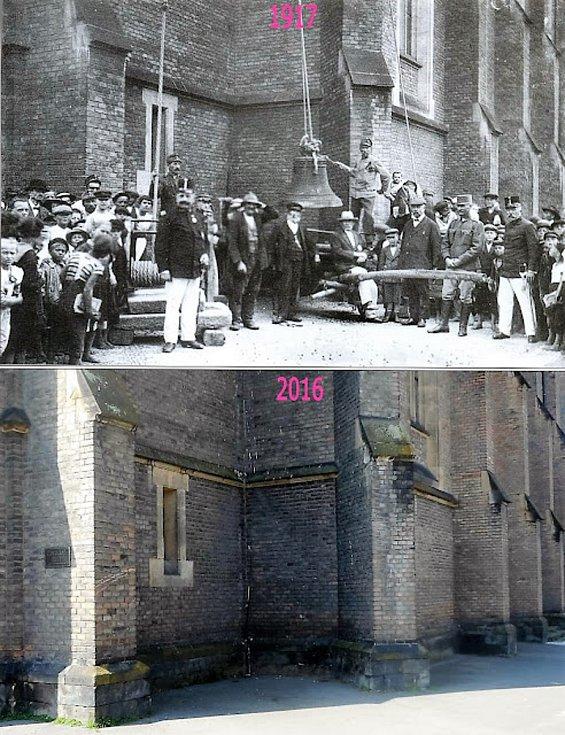 Na fotografii z roku 1917 jsou rekvírovány kostelní zvony.