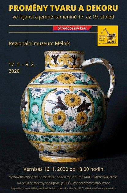 Proměny tvaru a dekoru ve fajánsi a jemné kamenině 17.a 19.století, tak zní název nové výstavy mělnického muzea, jejíž vernisáž se uskuteční ve čtvrtek 16.ledna od 18hodin vjeho velkém sále.