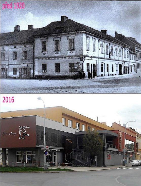 Roh ulic Žižkova a Havlíčkova, hostinec U Kotvy.