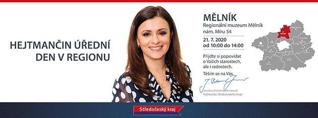 Pozvánka na úřední den hejtmanky Středočeského kraje Jaroslavy Pokorné Jermanové vMělníku.