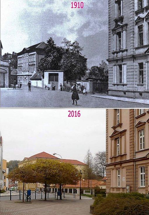 Pohled od chlapecké školy Jodlovou ulicí k dívčí.