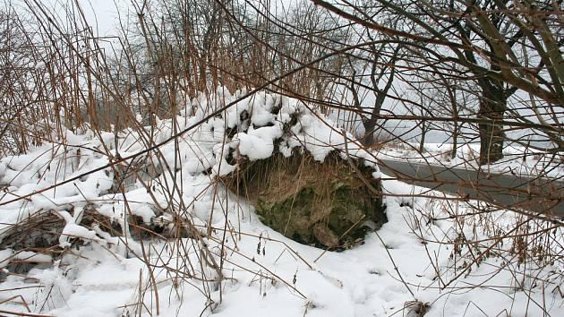 Vrstva sněhu přikrývá kopečky letitých odpadků