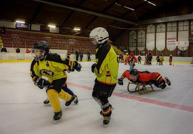 Společný trénink hokejistů HC Junior Mělník s přípravkou.