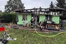 Požár rodinného domu v Měšicích.