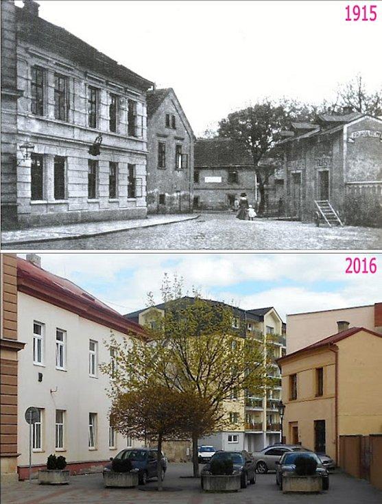 Pohled od školy. Cesta vede do lokality, zvané Na Hrádku, lidově na husím plácku. Vlevo býval kralupský okresní soud, v dalším domě věznice.