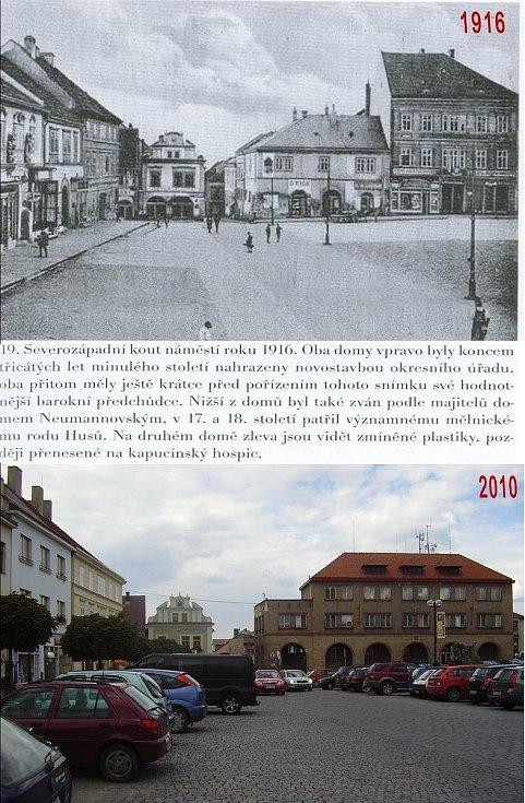 Pohled od zámku směrem k náměstí. Změny jsou zjevné, jen mi nepřipadají tak drastické jako jinde v Mělníku. Podle publikace byly poslední tři domy vlevo, před náměstím, poměrně dost historicky cenné. Místo nich je spořitelna