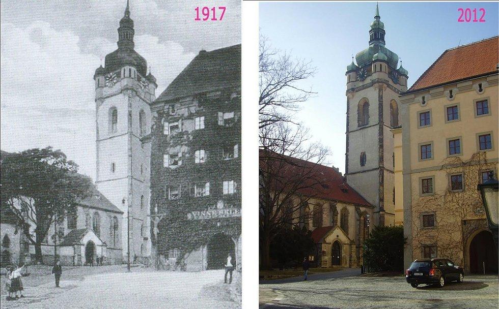 Chrám svatého Petra a Pavla. S pozdně gotickou věží a barokní zámecké křídlo. Na rohu, vlevo od zámecké brány je vidět kříž z doby třicetileté války. V padesátých letech 20.století byl odstraněn, údajně pro chatrný stav