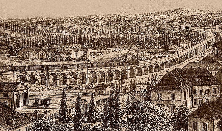 Negrelliho viadukt spojující Karlín a Bubny je druhým nejstarším stojícím mostem v Praze. Lept z roku 1854.