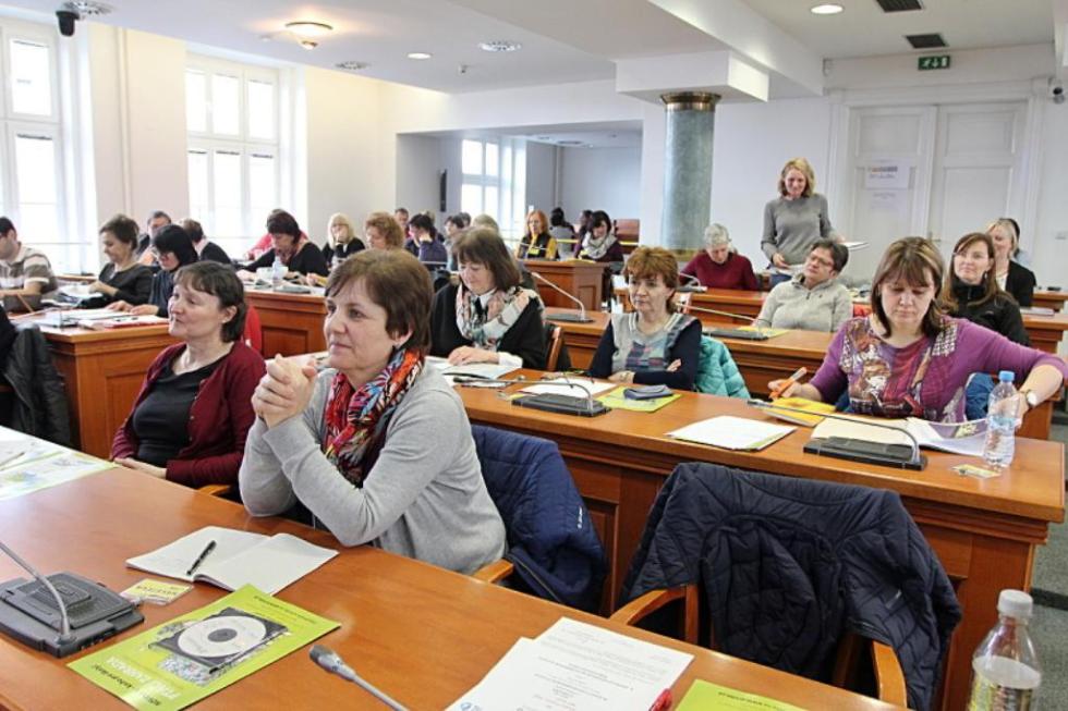 Pedagogové a koordinátoři při setkání na téma enviromentální výchovy
