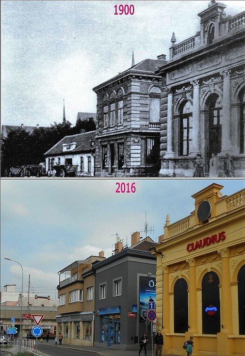 Ulice S. K. Neumanna, dříve Fügnerova. Místo sokolovny je na fotkách vidět kasino s antickým názvem. Nízký domek byla kovárna Františka Čermáka.