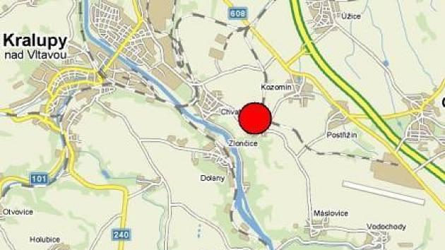 Lokace obce Zlončice je vyznačena červeným kolečkem.