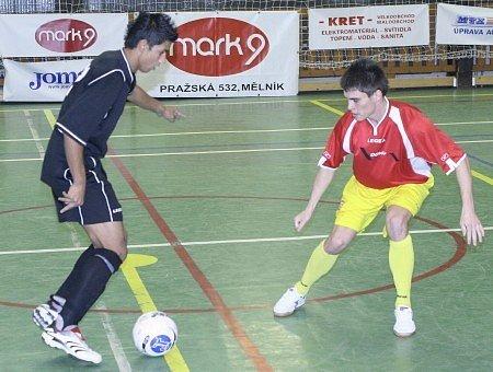 Z Futsalového utkání mezi týmy Mělníka a Liberce.