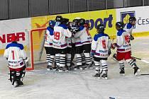 Hokejisté šesté třídy týmu HC Benátky/Mělník slaví výhru na ledě Bílých Tygrů Liberec.