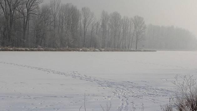 V Obříství je Labe zamrzlé. Lidé riskují bruslením a přecházením ledu své zdraví.