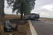 Automobil začal po nárazu do stromu hořet.