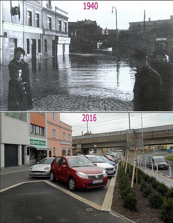 Povodně v Jiráskově ulici.