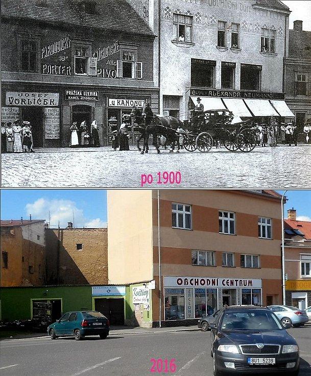 Vlevo mimo obchod i hospoda U kanónu. Dům byl poškozený při náletu v roce 1945, od té doby neobnovený.
