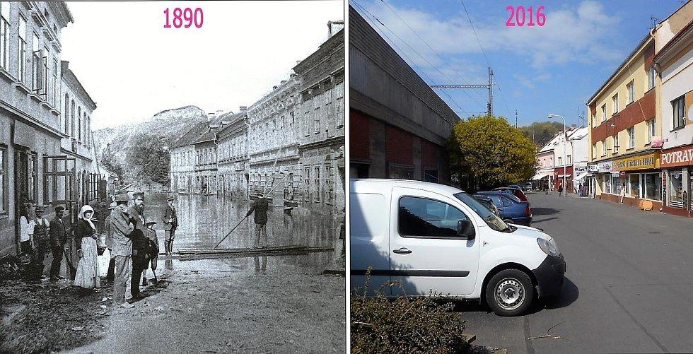 Starší snímek zaznamenává povodně v Kralupech.