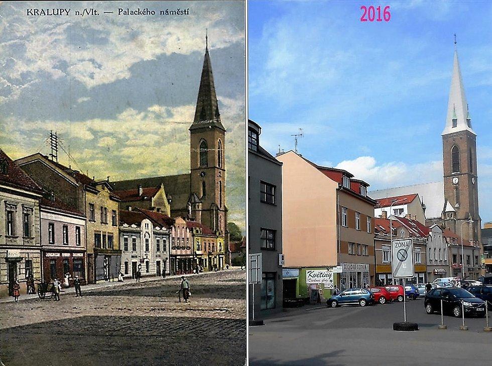 Kostel Nanebevzetí Panny Marie a svatého Václava a západní fronta náměstí.