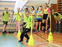 Trénink s olympionikem na mělnické Základní škole Jindřicha Matiegky v Pražské ulici.