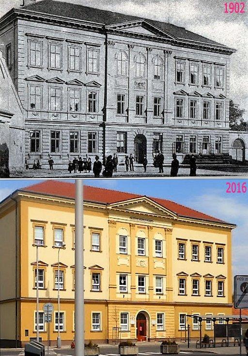 Z Komenského náměstí k západu vede Jodlova ulice. Tam stojí obecná škola z roku 1883, v roce 1902 byla změněna na dívčí školu.
