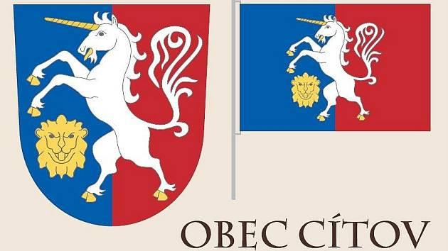 Vítězná varianta znaku a vlajky Cítova, která od obyvatel získala nejvíce hlasů