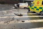 Střet auta a motorky uzavřel dálnici na celé hodiny