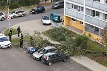 Na parkovišti mezi panelovými domy na sídlišti V Zátiší v Kralupech nad Vltavou skácel ve čtvrtek 21. října vichr strom na parkující auto.