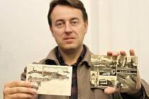 Pohlednice ze začátku minulého století (vlevo) jsou podle jejich sběratele Martina Klihavce mnohem lépe provedené než ty z doby socialismu (vpravo).