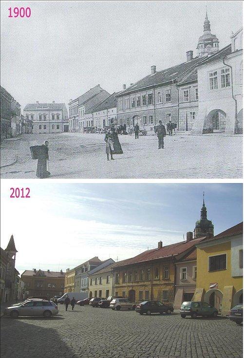 Palackého ulice. Ve směru od Pražské brány
