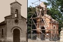 Kaplička v Lobečku dříve a dnes.