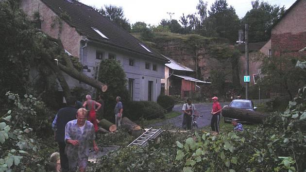 VE STRÁNCE pomoc  při  odklízení spadlých stromů nikdo neodmítl.