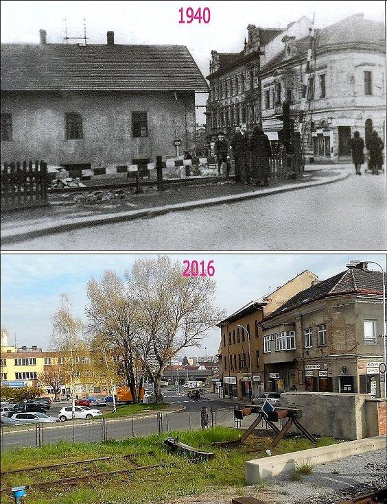 Pohled proti ulici S. K. Neumanna. Místo přejezdu je zarážedlo, Velký dům vlevo, který zmizel, bývala sušárna.