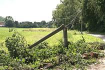 Ve Lhotce u Mělníka strom zlomil sloup vysokého napětí.