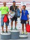 Stupně vítězů letošního ročníku Miřejovického půlmaratonu.