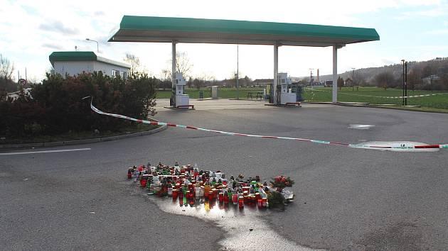 Čerpací stanice u Nelahozevsi, kde došlo v prosinci k tragédii.