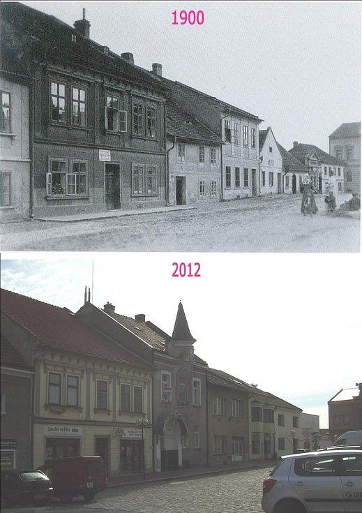 Palackého ulice. Kromě domu vlevo je všechno úplně jiné