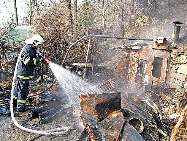 Hasiči svým včasnýk příjezdem zabránili rozšíření požáru po celé zahrádkářské kolonii.