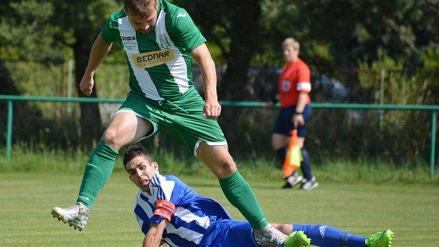Fotbalisté Kel (na snímku kapitán Jakub Mihalík) odehráli poslední zápas v I. A třídě na půdě Pěčic.