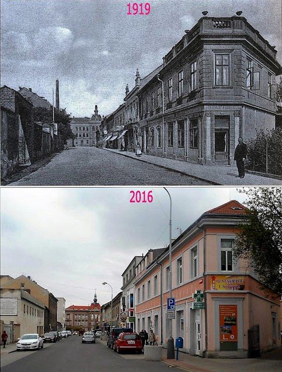 Žižkova ulice. Na jejím konci stojí škola na Komenského náměstí. Tentokrát i s komínem pivovaru.